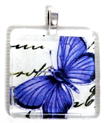 1pc 25mm Vintage Glass Pendant Purple Butterfly Silver Bail