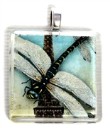 1pc 25mm Vintage Glass Pendant Paris Dragonfly Silver Bail