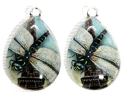 2pc 25mm Vintage Glass Teardrop Charms Paris Dragonfly
