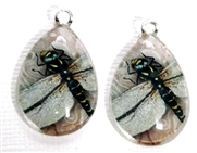 2pc 25mm Vintage Glass Teardrop Charms Pink Dragonfly
