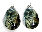 2pc 25mm Vintage Glass Teardrop Charms Owl