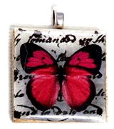 1pc 25mm Wooden Square Pendant Fuchsia Butterfly Silver Bail
