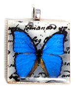 1pc 25mm Wooden Square Pendant Blue Butterfly Silver Bail