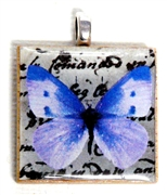 1pc 25mm Wooden Square Pendant Lilac Butterfly Silver Bail