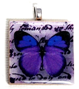 1pc 25mm Wooden Square Pendant Deep Purple Butterfly Silver Bail
