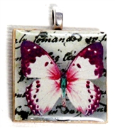 1pc 25mm Wooden Square Pendant Pink Butterfly Silver Bail