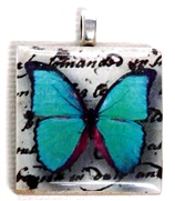 1pc 25mm Wooden Square Pendant Teal Butterfly Silver Bail