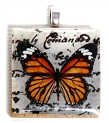 1pc 25mm Wooden Square Pendant Orange Butterfly Silver Bail