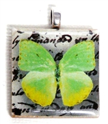 1pc 25mm Wooden Square Pendant Lime Green Butterfly Silver Bail
