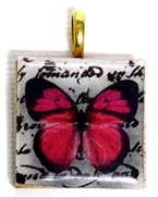 1pc 25mm Wooden Square Pendant Fuchsia Butterfly Gold Bail