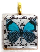 1pc 25mm Wooden Square Pendant Teal Black Butterfly Gold Bail