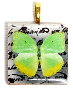 1pc 25mm Wooden Square Pendant Lime Green Butterfly Gold Bail
