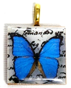 1pc 25mm Wooden Square Pendant Blue Butterfly Gold Bail