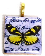 1pc 25mm Wooden Square Pendant Yellow Butterfly Gold Bail