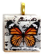 1pc 25mm Wooden Square Pendant Orange Butterfly Gold Bail