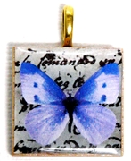 1pc 25mm Wooden Square Pendant Lilac Butterfly Gold Bail