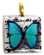 1pc 25mm Wooden Square Pendant Teal Butterfly Gold Bail