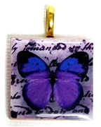 1pc 25mm Wooden Square Pendant Deep Purple Butterfly Gold Bail