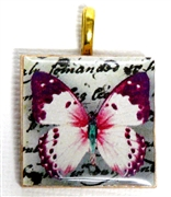1pc 25mm Wooden Square Pendant Pink Butterfly Gold Bail