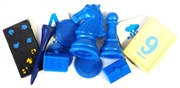 10pc assorted vintage game pieces blue
