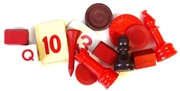 10pc assorted vintage game pieces red