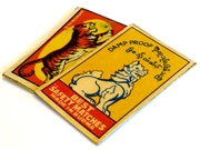 2pc vintage matchbox brass pendants lion #17