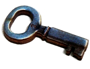 1pc woodcut Key Charm 35x19mm #4