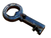 1pc woodcut Key Charm 34x18mm #7