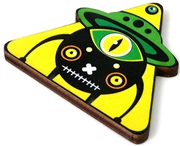 1pc woodcut yellow alien triangle 46x41mm