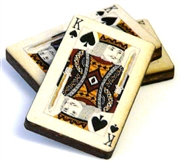 1pc woodcut playing cards king of spades