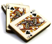 1pc woodcut playing cards queen of spades