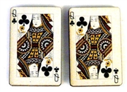 1pc woodcut playing cards queen of clubs 29x20mm