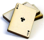 1pc woodcut playing cards ace of clubs 29x20mm