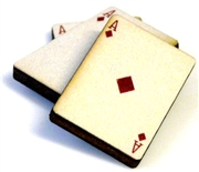1pc woodcut playing cards ace of diamonds 29x20mm
