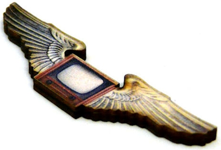 1pc flying tv woodcut small