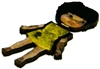 1pc woodcut doll yellow dress 56x30mm
