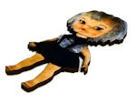 1pc woodcut doll grey black dress 78x36mm