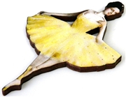 1pc woodcut ballerina yellow 61x38mm