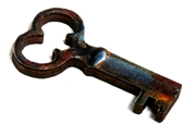 1pc woodcut Key Charm 36x20mm #14