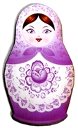 1pc Woodcut Babushka Doll Purple 57x32mm