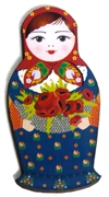 1pc Woodcut Babushka Doll Blue & Red 57x29mm