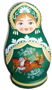 1pc Woodcut Babushka Doll Dark Green 58x32mm