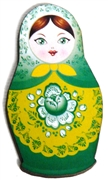 1pc Woodcut Babushka Doll Green 56x32mm