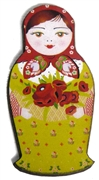 1pc Woodcut Babushka Doll Green & Red 56x28mm