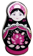 1pc Woodcut Babushka Doll Black & Pink 58x32mm