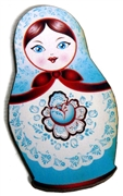 1pc Woodcut Babushka Doll Blue & Red 58x32mm