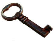 1pc woodcut Key Charm 42x18mm #2