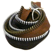 3pc vintage metal zippers brown #1