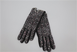 Tweed Gloves with Pearls