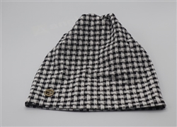 Black/White Plaid Beanie